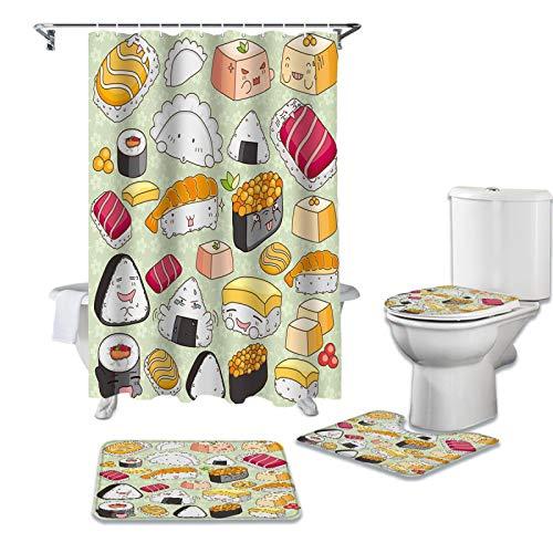 BANLV Köstliches Essen Duschvorhang Set Teppich WC-Abdeckung & Badematte Bad Vorhang Set