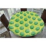 Mantel elástico resistente a las manchas, campo de alcachofas orgánicas saludables, verdes, vegano, vegetariano, para mesas ovaladas/olbong de 48 x 172,7 cm, para comedor y fiesta, color verde manzana
