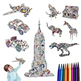 Puzzle Toys,3D Coloring Puzzle Set, STEM Puzzle Toys, 9 Pack DIY 3D Puzzles Toys Set,Art Coloring Painting Puzzle for Kids, Fun Educational Creative DIY Preschool Puzzle Toys, Gift for Girls & Boy