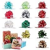 XiYee Noeuds Rubans Emballage, 12 Pièces de Noël Ruban de Papier Cadeau Nœuds à Tirer, Noeuds Rubans Emballage Cadeau Tirez noël Idéal pour Décorer Cadeau Noël