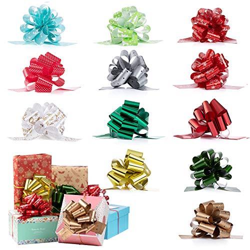 XiYee Lazos Regalo, 12 Piezas Mariposa Coloreada Envoltorio de Regalo, Arcos de Cinta para Envolver Regalos, Lazo de Envolver Regalo para Navidad, Bodas, Fiestas de Regalo y Decoración
