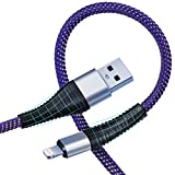 iPhone Charger 10 ft, MFi Certified Lightning Cable 2 Pack 10 Foot Charger Cord USB Charging & Syncing Extra Long Nylon Braided USB Charging Cord Compatible with iPhone X/Max/11/8/7/6/6S/5/5S/SE/Plus