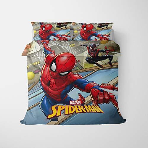 QIAOJIN Marvel Spiderman - Juego de funda de edredón infantil con impresión 3D de superhéroes, con cremallera, para niños y decoración del hogar (j,135 x 200)