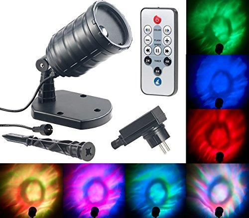 Lunartec Sternprojektor: LED-RGB-Projektor für Wellen-Licht-Effekte, Timer, Fernbedienung, IP65 (Wasser Welle Licht)