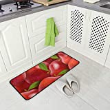 Red Apple Fruit Pattern Kitchen Floor Mat, Non-Slip Comfort Office Standing Cushioned Rug Home Decor Indoor Outdoor, 39' x 20'