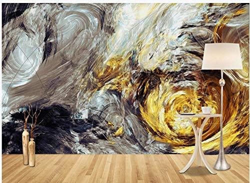 Fototapete 3D Effekt Vlies Tapeten Graues Goldenes Geometrisches Sternenhimmelkunst-Ölgemälde Foto Tapete Wand Wandbilder Wallpaper Moderne Wanddeko 320x230cm
