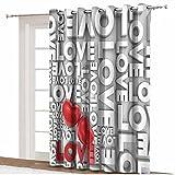 Love Decor - Cortinas opacas para puerta de patio, diseño de texto macro Big Love con texto en inglés 'Emociones apasionadas', divisora de habitación, 255 x 275 cm, para puerta de cristal de patio