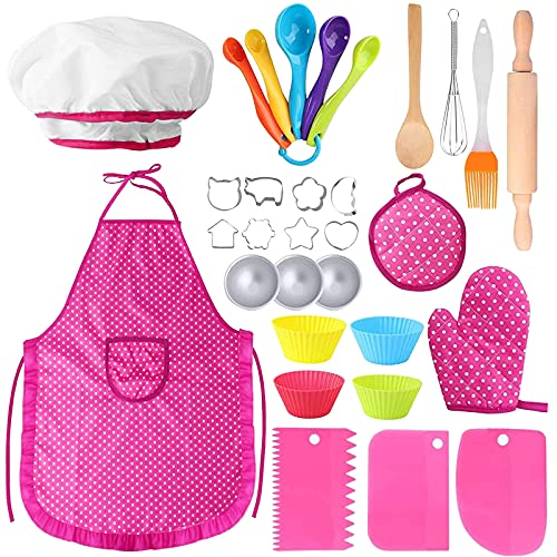 Hicdaw 31PCS Toddler Baking Set Kids Cooking Set Apron Set for Kids Chef Hat Cooking with Oven Mitt Utensils