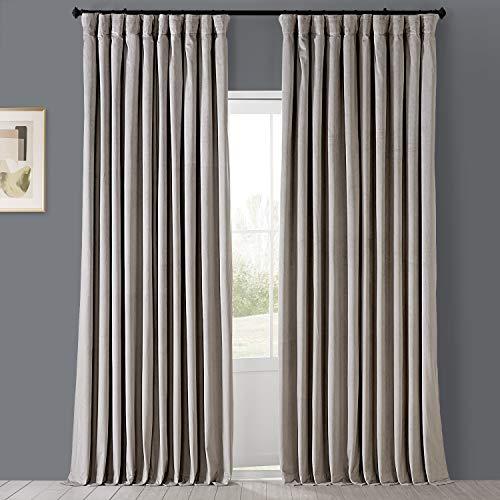 HPD Half Price Drapes VPCH-VET160405-96 Signature Extra Wide Blackout Velvet Curtain (1 Panel), 100 X 96, Cool Beige