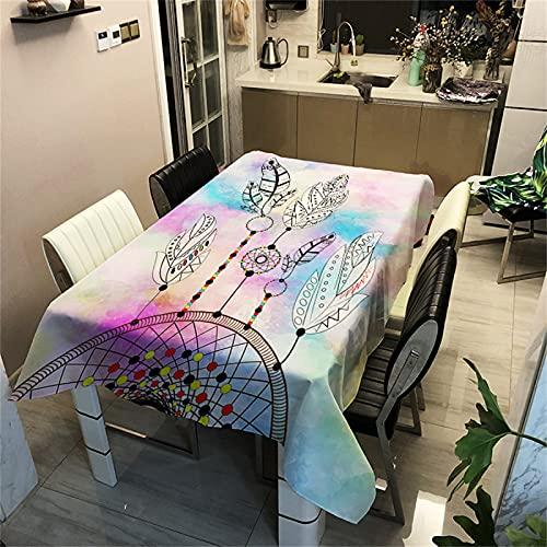 Mantel Rectangular Impermeable De Poliéster 3D Patrón Digital Decoración De La Sala De Estar Mantel De Cocina Hotel Cuadrado Mantel De Mesa De Café Fiesta De Vacaciones Jardín 140x140cm