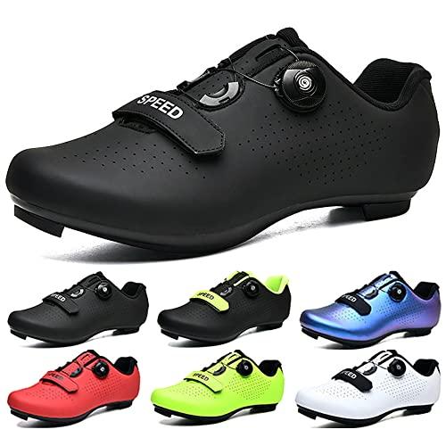 KUXUAN Zapatos de ciclismo para hombre y mujer, para interior Peloton Road Bike Zapatos con bloqueo para bicicleta de carretera con asistencia eléctrica, zapatos deportivos de ciclismo, negro-42EU