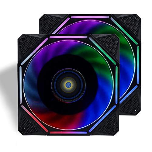 CONISY 120mm PC Case Fan Ultra Quiet LED Desktop Computer Cooling Fans - Color(Dual Pack)