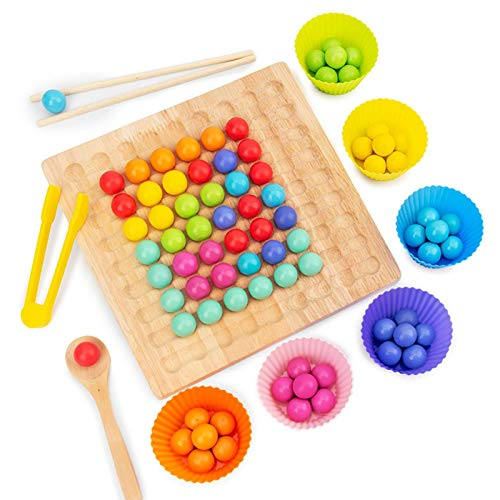 Erfula Clip Beads Game Puzzle Board Puzzle Color Sorting Stacking Art Toys Color wooden Birthday GiftToddler Educational Preschool Learning Toy boosted