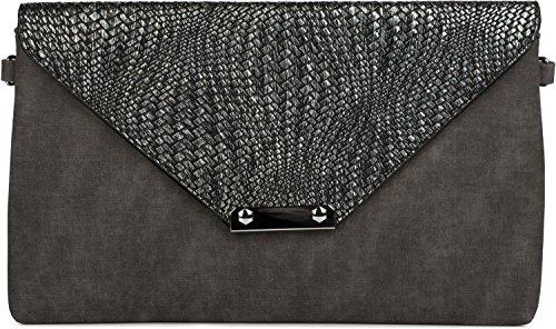 styleBREAKER Envelope Clutch Tasche mit Flecht Optik am Umschlag, Handschlaufe, Umhängegurt, Abendtasche, Damen 02012184, Farbe:Schwarz