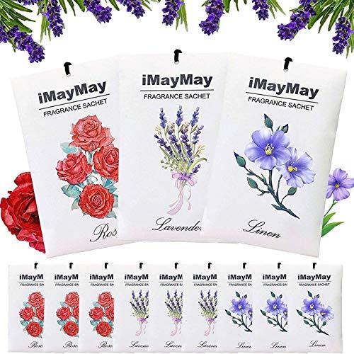 iMayMay Duftsäckchen, Lavendel Leinen & Rose Duftsäckchen für Schubladen, Schränke, Kleiderschrank, Büro, Badezimmer, Wohnzimmer, Autos, 12 Packungen