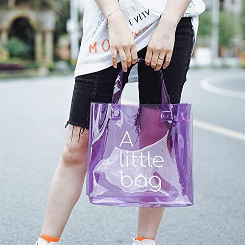 Bolsa de asas clara,CLORURO DE POLIVINILO Bolso transparente, bolso claro del holograma, bolsa de regalo de plástico de regalo portátil de viento multicolor (Color : Purple, Size : 30cm*30cm*12cm)