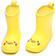 DKSUKO Toddler Kids Rain Boots Waterproof Cartoon Yellow Rubber Booties Ankle Short Rain Shoes for Baby Girl Size 6-13