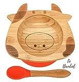 Bol Ventouse pour Bébé et Cuillère en Bambou Naturel   L'Original 'Bambol' par Finkolo   Forme Vache   Vaisselle Apprentissage   Coffret Repas Assiette