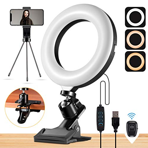 Mastten Selfie Ring Light for Laptop iPhone, 6' Ring Light with Clip Clamp Mount, Desk Ring Light with Stand Tripod Phone Holder for Video Conferencing, Photography, Makeup, YouTube, TIK Tok, Vlogs