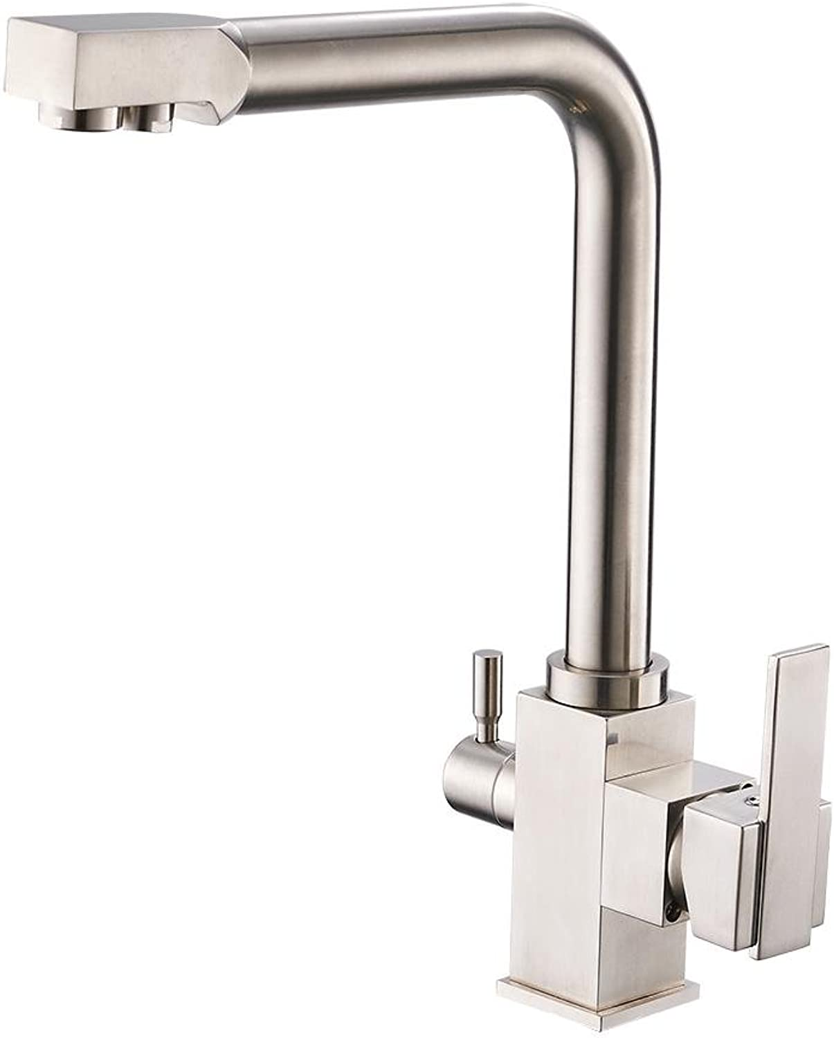 PLYY Kitchen Faucet Water Purification Features filter Construction Double Handle Single Hole Brass Sink Mixer Tap 360 Degrees redatable