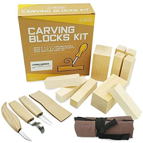 JJ CARE [Premium] Wood Carving Kit, Wood Whittling Kit, 10 Wood Blocks + 5 Chrome Vanadium Steel Knives for Halloween Carving, Beginner Whittling Kit for Kids & Adults, Basswood Carving Set