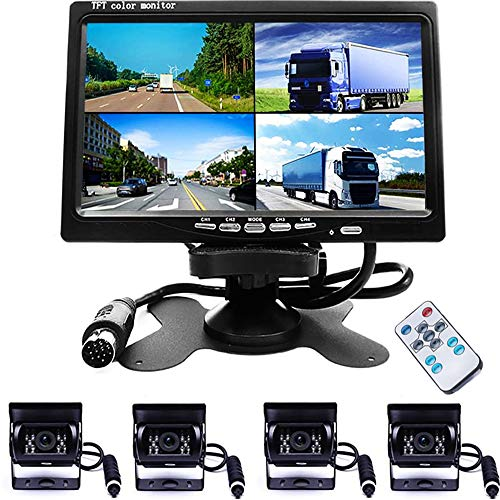 Camecho Vehicle Backup Camera 7 Inch 4 Split Monitor+ 4 Cameras with Front View, Rear View 18 IR Night Vision Waterproof Auto Camera with 2x33 ft and 2x65ft Cables for Trucks, RV, Trailer, Bus