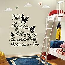 Cartas Con Una Cita De Beso De Mariposa Girl Room Decor Art Extraíble Etiqueta De La Pared