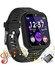 Smartwatch voor kinderen, telefoonhorloge voor jongen en meisje touchscreen met SOS-alarm, muziekspeler, 14 puzzelspel, zaklamp, wekker, slim horloge voor kinderen 4-12 jaar cadeau(zwart)