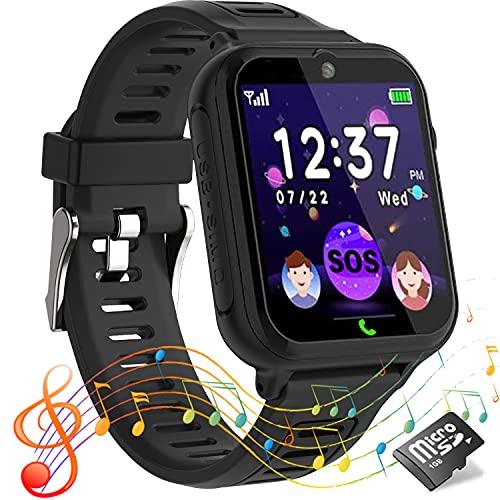 Reloj inteligente niños,Smartwatch para niños con llamadas para S0S,14 juegos,cámara,video,reproductor de música,calculadora,pantalla táctil,relojes infantiles regalos para de 4 a 12 años(negro)