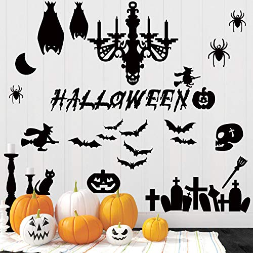 45 Pcs Halloween Wall Decals Large Removable Wall Stickers Black Window Clings Pumpkins Spooky Cemetery Castle Skeleton Spider Cats Ghost Candlestick Witch and Bats Tomb for Halloween Party Decoration