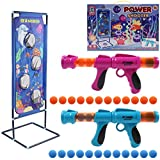 DigHealth 2 PCS Power Gun with Sea world Scoring Target, 2 Players Outdoor Shooting Game with 24 PCS Soft Foam Balls, Kids Air Powered Toy Gun for Role Playing with Family or Partners