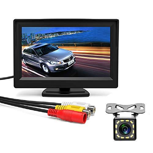 MiCarBa Kit de caméra de recul et moniteur de voiture 5 pouces, Vue arrière Système d'aide à la sécurité de stationnement avec radar à 2 DEL 2, caméra de vision nocturne à 170 DEL (CL503K)