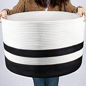 COSYLAND Large Woven Storage Laundry Basket 22.1×22.1×14.2 inches Cotton Rope Organizer for Blanket Toys Towels Baby Nursery Hamper Bin with Handle…