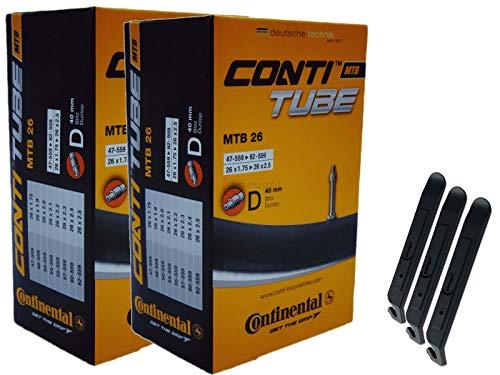 Continental 47-62/559 D40 MTB 26 - Cámara de aire para bicicleta (2 unidades, 26', incluye 3 desmontadores de neumáticos)