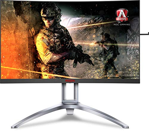 "AOC Agon AG273QCX 27"" Curved Gaming Monitor, 2K QHD, FreeSync 2 DisplayHDR 400, 144Hz, 1ms, Height Adjustable, DisplayPort/HDMI, VESA, 4-Yr Zero Dead Pixel Guarantee"
