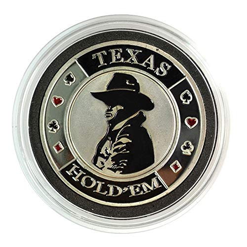 TX GIRL Texas Hold'em Poker Chip Dealer Button Silber Cowboy Poker Gedenkmünze Poker-Karten-Schutz-Schutz-Metallmünze (Color : Silver Cowboy)