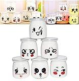 Langlee Set de 6 Vasos para Yogurtera, Vasos de Repuesto Tarros Cristal con Divertidas Emoticonos y Tapas, Tarro de Crema Postre Pudding Glass Jar (Capacidad: 200 ml)