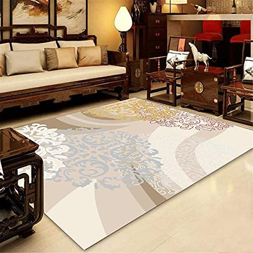 CCTYJ Rojo Oscuro Gris patrón étnico Elegante Dormitorio Suave cabada de Noche Pasillo Sala de Estar Dormitorio decoración del hogar alfombra-120x160cm Estar Alfombra para Decoración Interior Diseño