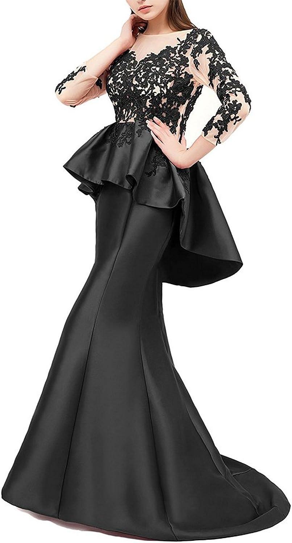 Honeydress Women's Mermaid Peplums Floral Appliques Long Sleeve Evening Dress