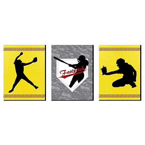 Big Dot of Happiness Grand Slam - Fastpitch Softball - Sports Themed Nursery Wall Art, Kids Room Decor and Game Room Home Decorations - Gift Ideas - 7.5 x 10 inches - Set of 3 Prints
