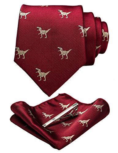 RBOCOTT Red Patterns Wedding Party Dinosaur Tie Men's Necktie and Pocket Square with Tie Clip Sets for Men(13)