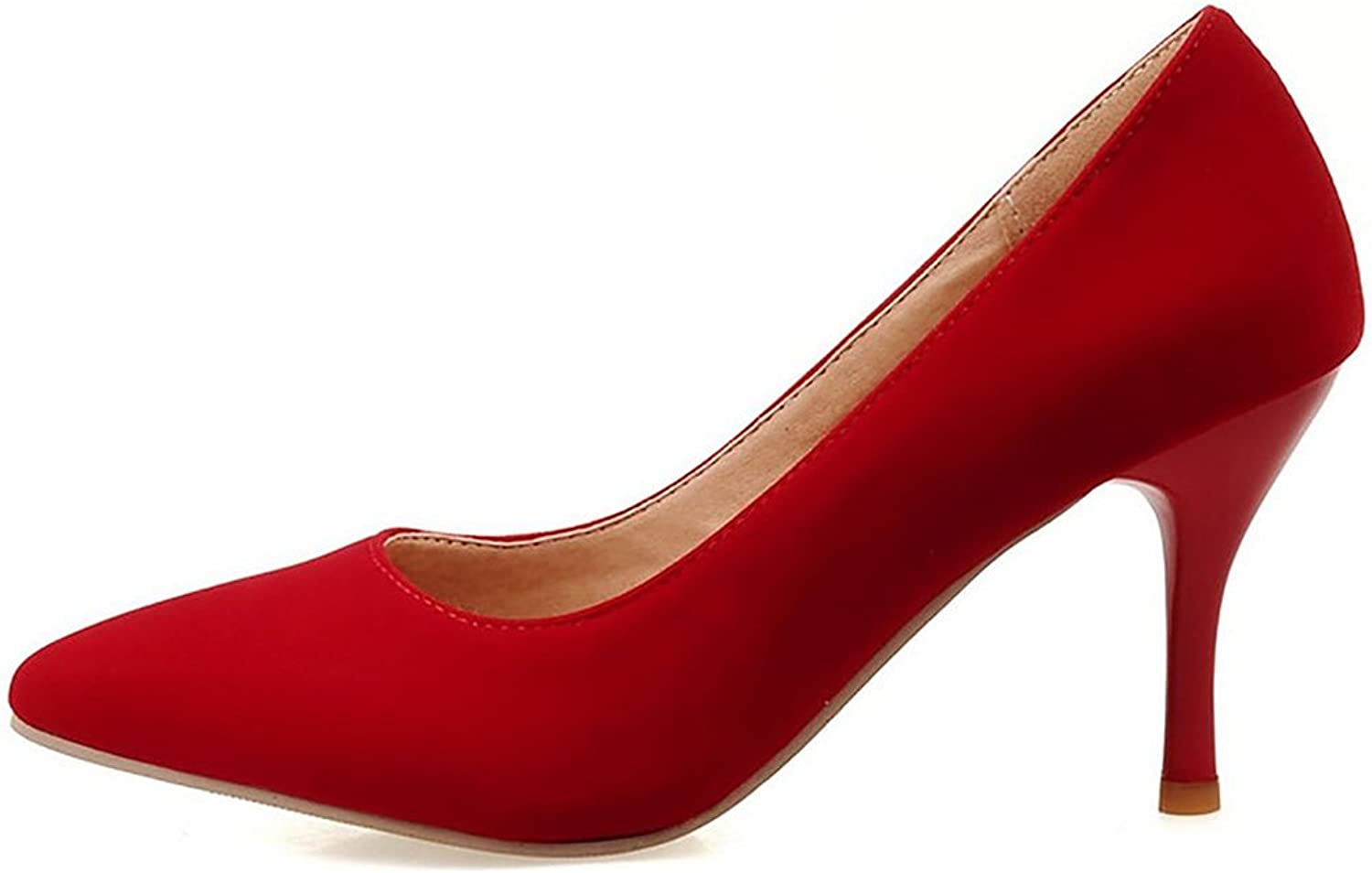 COOLCEPT Women High Heel Pumps Pointed Toe Solid color Slip-On Stiletto Sude shoes Formal Footwear