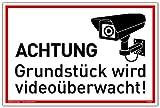 Schild Achtung Grundstück wird videoüberwacht! | Alu 30 x 20 cm | stabiles Alu Schild mit UV-Schutz | weiß | Videoüberwachung Kameraüberwachung Kameraüberwacht | Dreifke®