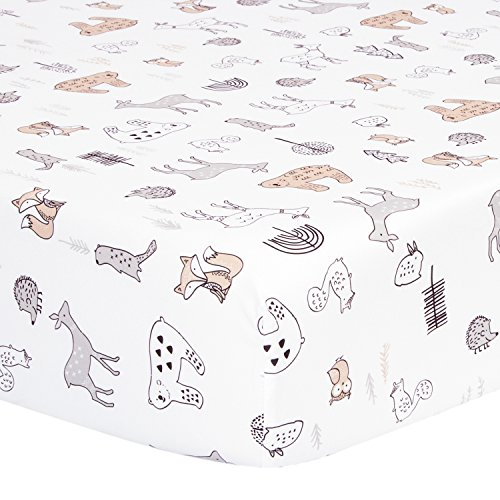 TILLYOU Microfiber Woodland Crib Sheet, Silky Soft Animals Toddler Sheets for Baby Boys and Girls, Lovely Breathable Cozy, 28 x 52in, Forest Animals Theme