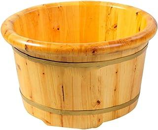 FAP Lavabo de Pedicura 25 cm Bañera para Pies Madera Vapor Al Vapor Baño para Niños Baño de Pies para Adultos Espuma Barril de Madera Hogar Al Aire Libre Barril de Madera Masajeadores de Pies, Col
