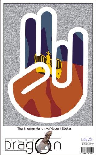 THE SHOCKER HAND - Wandtattoo / Wandaufkleber/ Aufkleber - weißer Umriss mit Fahne / Flagge - Liechtenstein-Liechtenstein 108 cm