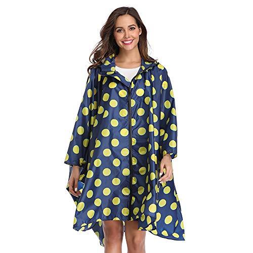LINENLUX Summer Mae Regen Poncho Jacke Mantel für Erwachsene mit Kapuze wasserdicht mit Reißverschluss im Freien