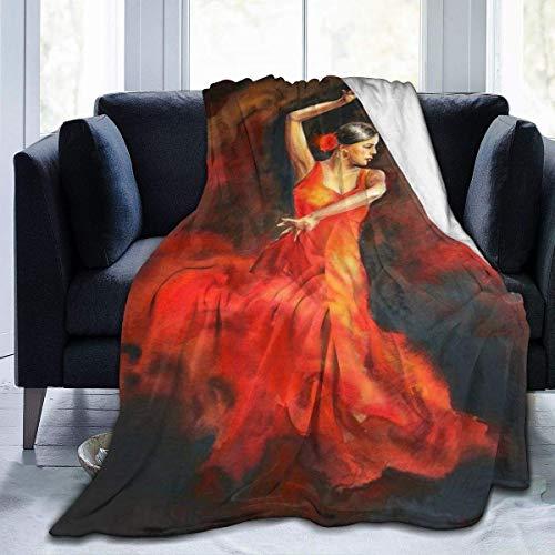 Manta de Felpa Manta Bailarina de Flamenco en Vestido Rojo Piel sintética Suave y acogedora Mullida y Ligera Microfibra Ligera Manta difusa