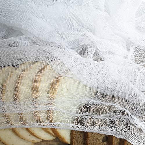 A2- Baumwollgaze Weiß, Gaze Stoff, Gauze, Käsetücher, Filtertuch, Seihtuch 100% Baumwolle, 90 cm breit, Meterware