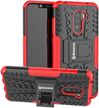 Bracevor Hybrid Back Cover Kickstand Case for Poco F1 - Red | Rugged Defender